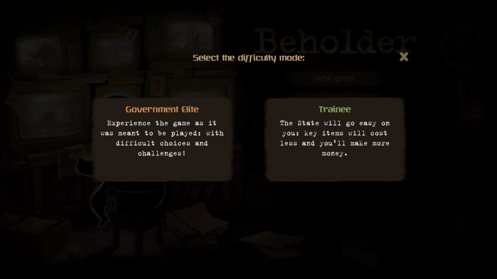 Beholder - Choose difficulty