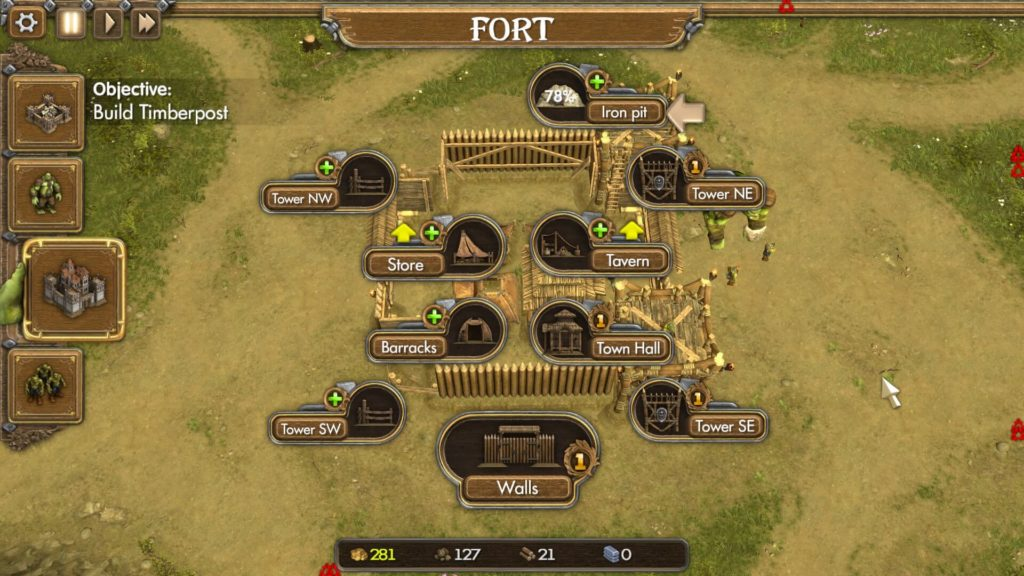 Fortress management menu, One Troll Army