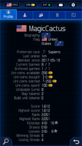 Uniwar Profile and Rank
